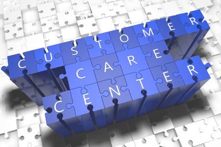 customer care: Customer Care Center - puzzle 3d render illustration with block letters on blue jigsaw pieces  Stock Photo