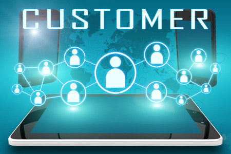 Customer - text illustration with social icons and tablet computer and mobile cellphones on cyan digital world map background illustration