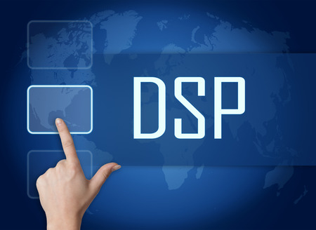 DSP - Demand Side Platform concept with interface and world map on blue background photo
