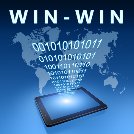 Win-Win illustration with tablet computer on blue background illustration