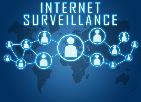 Internet Surveillance concept on blue background with world map and social icons. photo