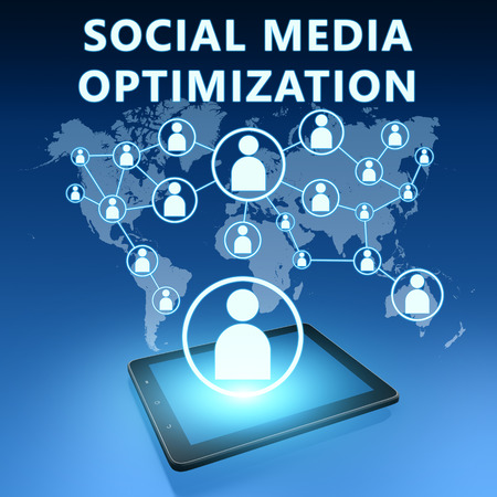smo: Social Media Optimization illustration with tablet computer on blue background