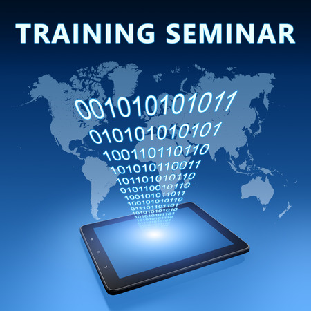 knowlage: Training Seminar illustration with tablet computer on blue background
