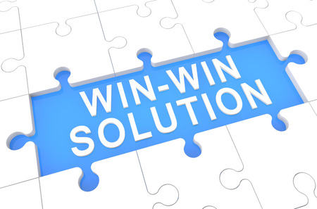 Win-Win Solution - puzzle 3d render illustration with word on blue background illustration