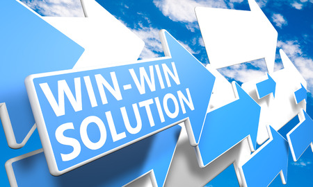 Win-Win Solution 3d render concept with blue and white arrows flying in a blue sky with clouds photo