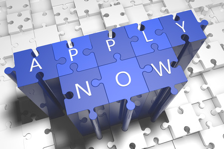 Apply now - puzzle 3d render illustration with block letters on blue jigsaw pieces  illustration