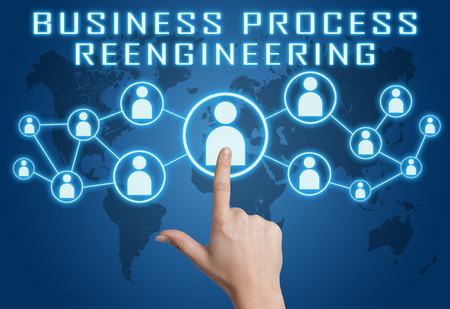 redesign: Business Process Reengineering concept with hand pressing social icons on blue world map background. Stock Photo