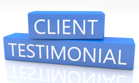 testimonial: 3d render blue box with text Client Testimonial on it on white background with reflection Stock Photo