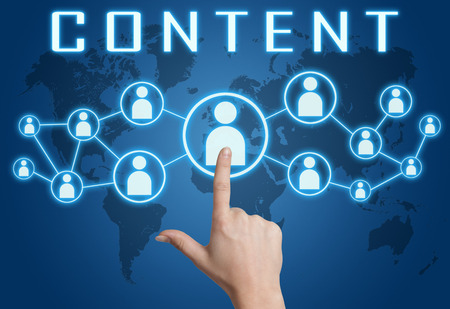 Content concept with hand pressing social icons on blue world map background. photo