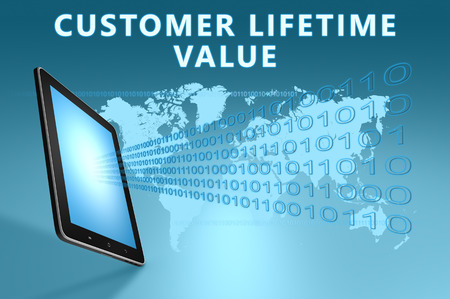 lifetime: Customer Lifetime Value illustration with tablet computer on blue background Stock Photo