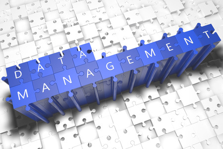 Data Management - puzzle 3d render illustration with block letters on blue jigsaw pieces  illustration