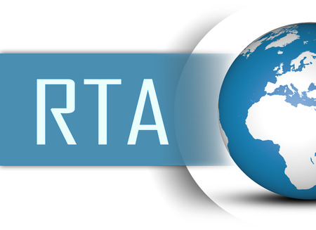 rta: RTA - Real Time Advertising concept with globe on white background
