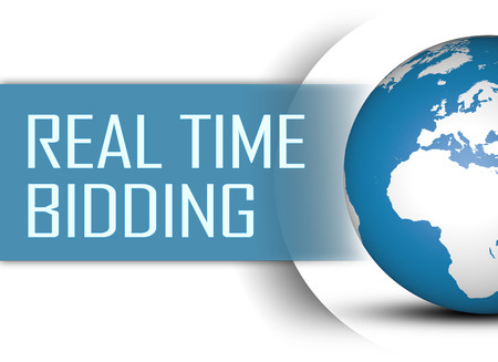 bidding: Real Time Bidding concept with globe on white background Stock Photo