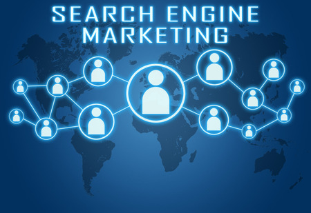 optimizing: Search Engine Marketing concept on blue background with world map and social icons. Stock Photo