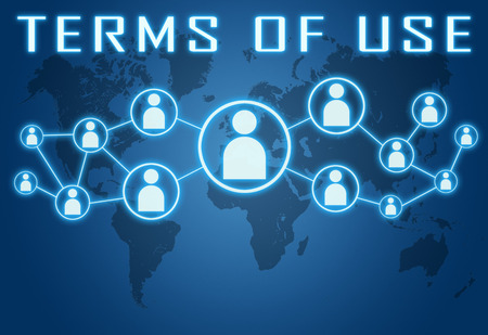 use regulation: Terms of use concept on blue background with world map and social icons. Stock Photo