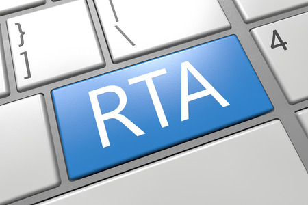 rta: RTA - Real Time Advertising - keyboard 3d render illustration with word on blue key