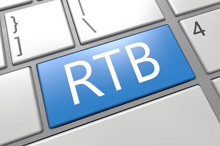bidding: RTB - Real Time Bidding - keyboard 3d render illustration with word on blue key