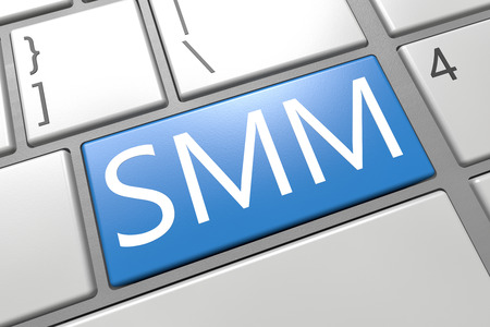 smm: SMM - Social Media Marketing - keyboard 3d render illustration with word on blue key Stock Photo