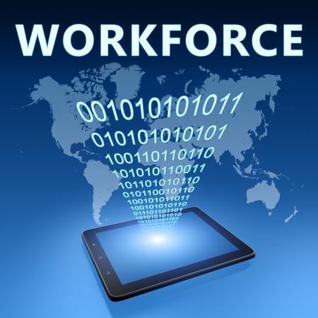 Workforce illustration with tablet computer on blue background illustration