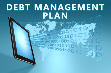 debt management: Debt Management Plan illustration with tablet computer on blue background Stock Photo