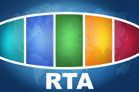 rta: RTA - Real Time Advertising text illustration concept on blue background with colorful world map Stock Photo
