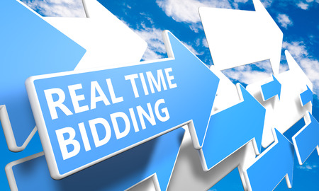 bidding: Real Time Bidding 3d render concept with blue and white arrows flying in a blue sky with clouds