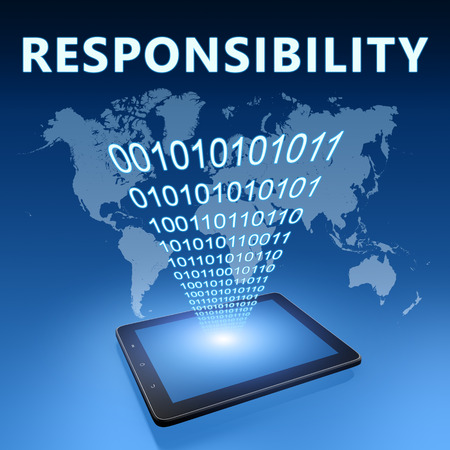 Responsibility illustration with tablet computer on blue background illustration