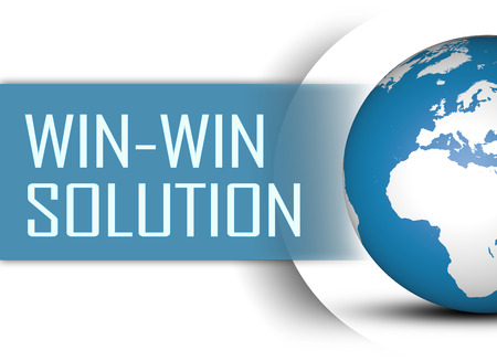 Win-Win Solution concept with globe on white background photo