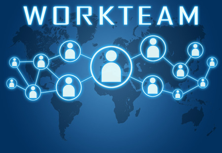 workteam: Workteam concept on blue background with world map and social icons.