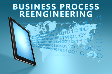 bpr: Business Process Reengineering illustration with tablet computer on blue background