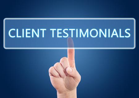 Hand pressing Client Testimonials button on interface with blue background. Foto de archivo