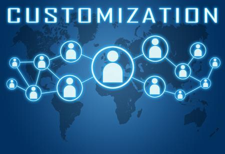 modificar: Concepto de personalización en fondo azul con el mapa del mundo y los iconos sociales. Foto de archivo