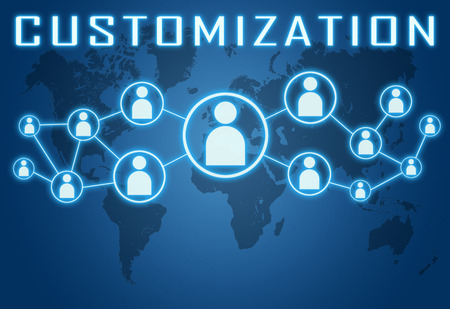customization: Customization concept on blue background with world map and social icons. Stock Photo