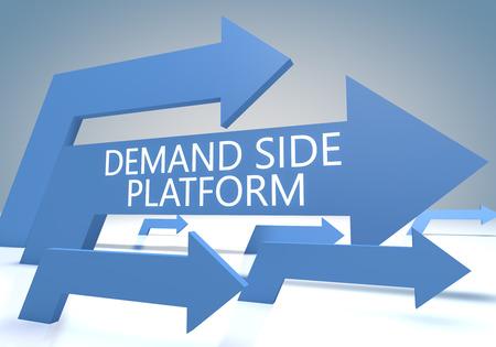 cpc: Demand Side Platform 3d render concept with blue arrows on a bluegrey background.
