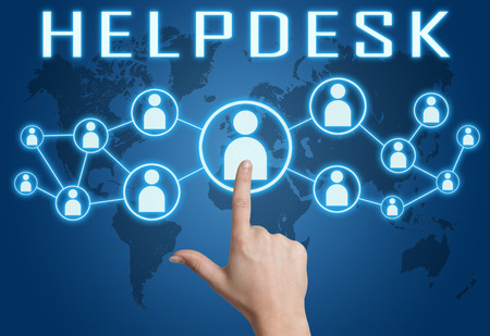 Helpdesk concept with hand pressing social icons on blue world map background. Stock Photo