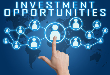 fonds: Investment Opportunities concept with hand pressing social icons on blue world map background.