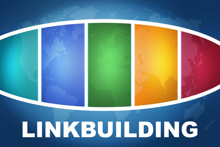 linkbuilding: Linkbuilding text illustration concept on blue background with colorful world map Stock Photo