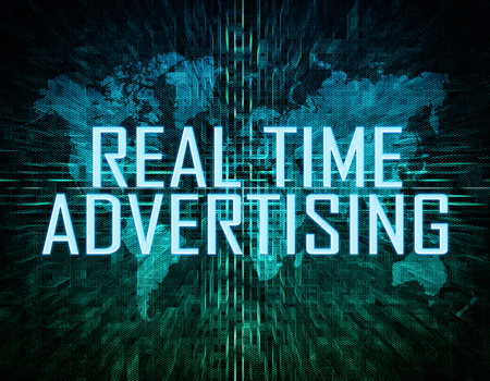 online bidding: Real Time Advertising text concept on green digital world map background  Stock Photo