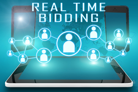 bidding: Real Time Bidding - text illustration with social icons and tablet computer and mobile cellphones on cyan digital world map background