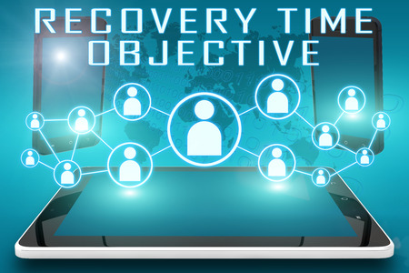 Recovery Time Objective - text illustration with social icons and tablet computer and mobile cellphones on cyan digital world map background illustration