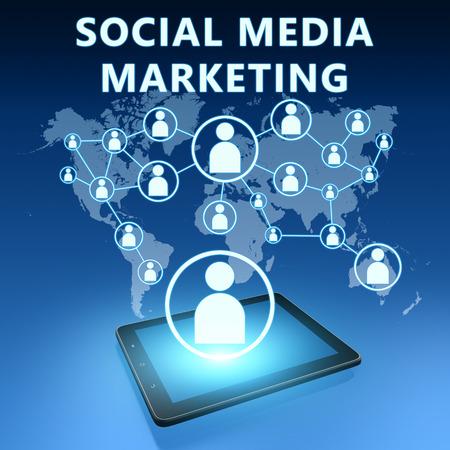 Social Media Marketing illustration with tablet computer on blue background illustration