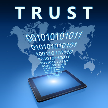 dependable: Trust illustration with tablet computer on blue background