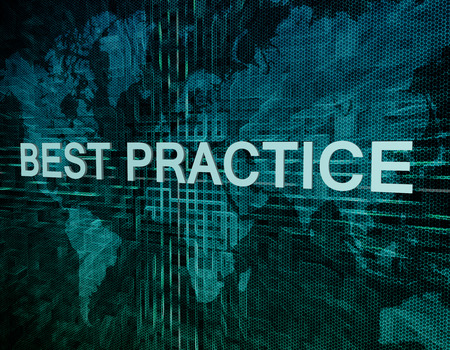 Best Practice text concept on green digital world map background  photo