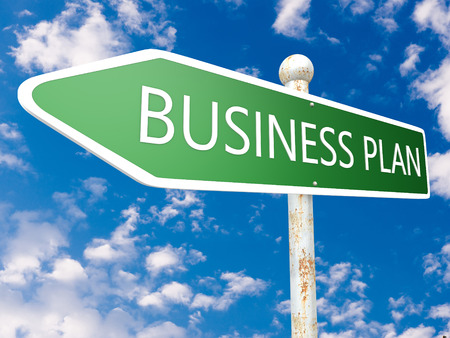 Business Plan - street sign illustration in front of blue sky with clouds. illustration