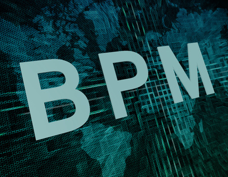 bpm: BPM - Business Process Management text concept on green digital world map background  Stock Photo