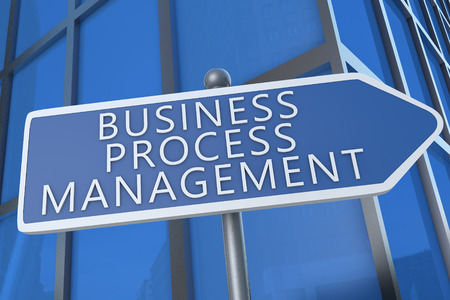 business process: Business Process Management - illustration with street sign in front of office building. Stock Photo