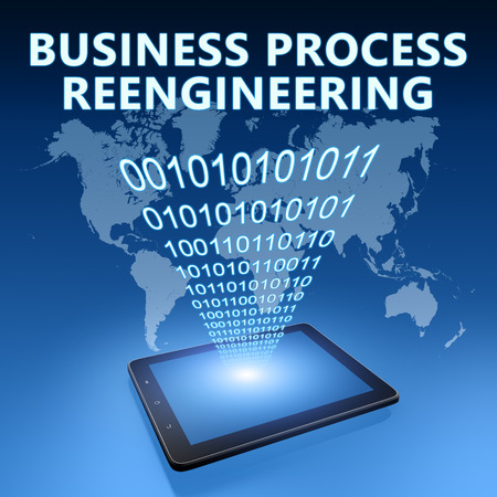 business process: Business Process Reengineering illustration with tablet computer on blue background