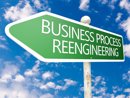 business process reengineering: Business Process Reengineering - street sign illustration in front of blue sky with clouds.