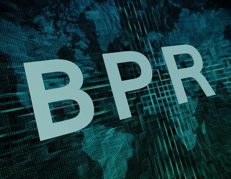 business process reengineering: BPR - Business Process Reengineering text concept on green digital world map background
