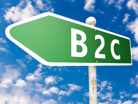 B2C - Business to Customer - street sign illustration in front of blue sky with clouds. illustration